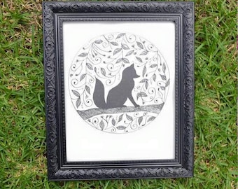 Foxy Fox Wall Art Print of Original Ink Drawing - Limited Edition Signed Illustration