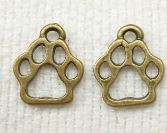 Dog, Cat Paw Print Charms, Antique Bronze Tone (8) - A87