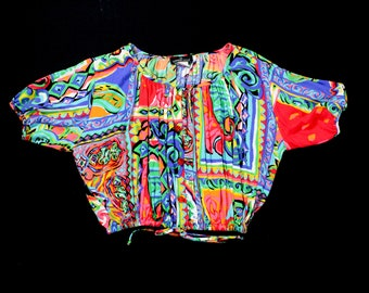 Vintage Crop Abstract Blouse