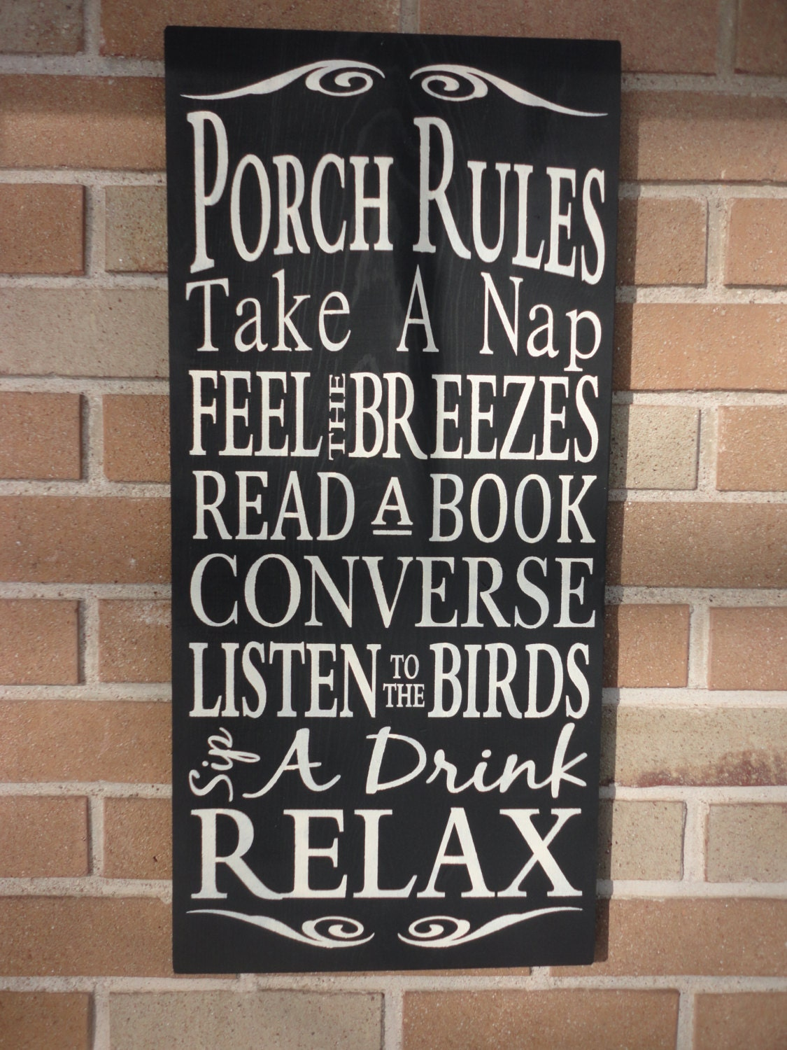 "Porch Rules Sign , Primitive wood Sign , Porch Decor , Home Decor , Farmhouse Style , Black , Rustic Decor , Country Sign , Deck 12"" x 24"""