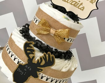 Adventure Awaits Rustic Diaper Cake, Deer Baby Shower Centerpiece