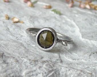 Tourmaline ring, Rose Cut tourmaline ring, brown green tourmaline ring, delicate ring, sterling silver ring, black silver ring