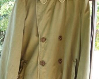 Vintage US Army Field Overcoat Trench Coat Size Medium 1950's Army Coat
