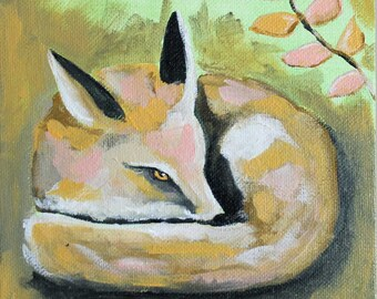 """Little Fox - Giclee from Acrylic Painting 6"""" x 6"""""""