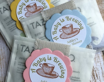 """8 ~ Baby Shower Favors, Baby Sprinkle Favors, Baby Shower Tea Bag Favors, """"A Baby is Brewing"""" Favors, Glassine Bags"""
