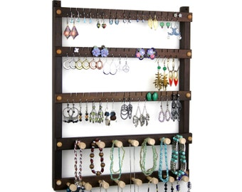 Jewelry Holder - Peruvian Walnut Earring Holder, Hanging, Wood, 2 Necklace Bars. 54 pairs of Earrings, plus 15 pegs. Jewelry Organizer