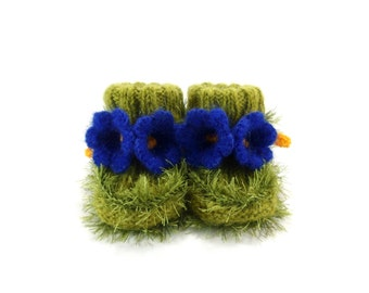 Hand Knitted Baby Booties with Bell Flowers - Green and Blue, 0 - 6 months