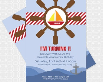 Sailboat Party Invitation, Printable file, Personalized