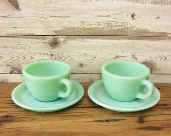 Vintage Set of 2 Jadeite Restaurant Ware Tea Cups Jadite C Handle Heavy Mint Green Glass Diner Coffee Mugs Soup 4 Pieces Fire King Jadite B