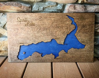 Spirit Lake, Idaho 3-D Lake Sign - Handmade Custom Map with Cities, Compass and Lake Name Engraved - North Idaho Made