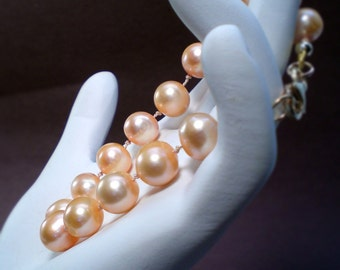 Hand Knotted Pearl Bracelet  Natural Pink - One Strand - Anniversary - Birthday - Weddings - Gifts