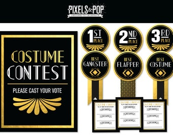 1920s Great Gatsby Printable Decorations // Costume Contest Awards // Voting Ballots // Great Gatsby Party // Contest Sign // Gatsyby Party