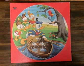 1982 Whitman Round Puzzle - Walt Disney's Huey, Dewey & Louie with Donald Duck