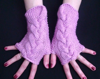 Fingerless Gloves/ Wrist Warmers Pink Cabled in Acrylic