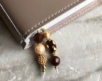 BEADED BOOKMARK for Travelers Notebooks | Planners | Journals | Books BROWN with gold accents