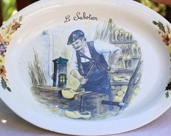 "Vintage very large tray, oval-shaped ceramic plate, the SABOTIER ""Ceraform limoges"""