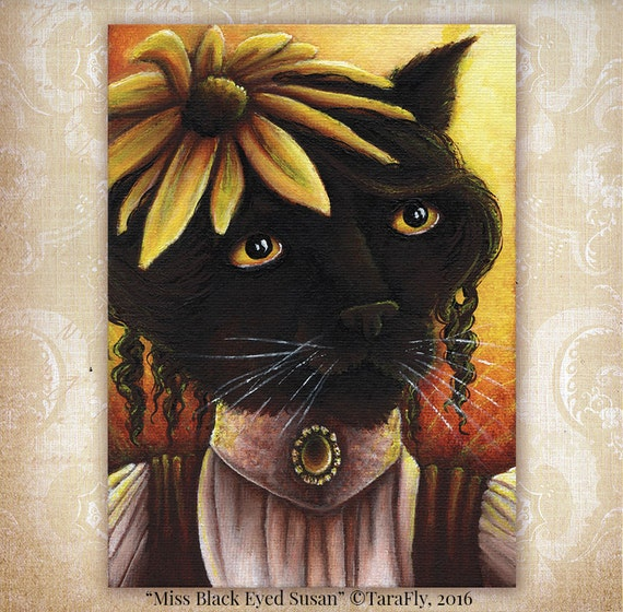 Black Eyed Susan Flower Cat 5x7 Fine Art Print
