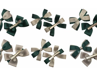 Bottle green and grey school uniform hair bows, alligator/crocodile hair clips, girls school hair slides, hair accessories, School accessory