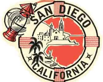 Vintage Style  San Diego California Travel Decal sticker