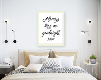 Typography print bedroom wall art minimalist wall art print monochrome print black and white print scandinavian print hygge print