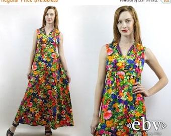 Hippie Dress Hippy Dress 1970s Dress 70s Maxi Dress Psychedelic Dress 70s Dress Boho Dress Floral Dress Vintage 70s Neon Floral Maxi Dress