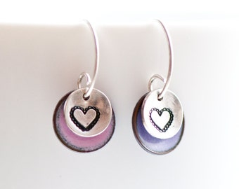 Heart Charm Earrings, Pink and Purple, Cute Heart Jewelry, Handmade Handstamped Jewelry, Gift for Girl, Sweet Jewelry, Sterling Silver