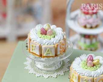 MTO-Easter Cream Cake with Candy Egg Nest - with EASTER or PÂQUES Cookie Decoration - Miniature Food in 12th Scale for Dollhouse