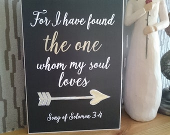 Song of Solomon 3:4 - Chalkboard Style Greeting Card -  Wedding Card - I have found the one whom my soul loves