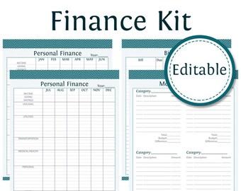Personal Finance Kit (3 documents) - Fillable - Finance Printable - Instant Download - Printable PDF - Bundled Kit