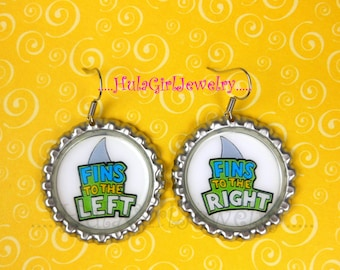 FINS UP, PARROTHEAD, Fins to the Left, Fins to the Right,  Jimmy Buffett Inspired, Parrot Head, Fun, Bottle Cap Earrings