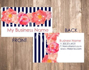 Watercolor Peonies Business Card {Classic}