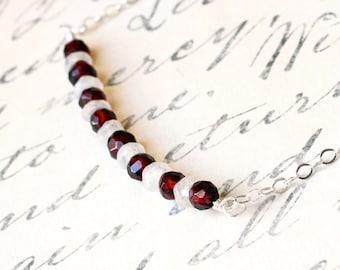 Garnet Necklace - Moonstone Necklace - Rainbow Moonstone Necklace - Sterling Silver Necklace - Garnet Jewelry - Red - White - Handmade