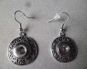 x 1 pair of earring hook to mini snap silver 4.1 x 2.15 cm