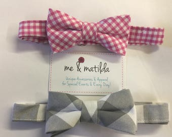 Little Boy's Bow Tie Set Pink Gingham and Gray Buffalo Check Ready to Ship