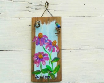 Purple coneflowers painting, Coneflower painting, rustic plaque art, pink flower art, original rustic painting, gardeners gift, 3.5x7.5 inch