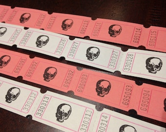 20 hand stamped tickets - SKULLS - pink or white tickets - your choice