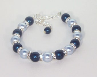 Swarovski Pearl & Crystal Jewelry - Crystal Petrol and Light Blue - Made to Order - Any 2 colors