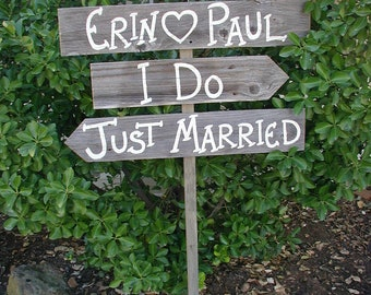 Three Wood Boards on 48 in Stake Wedding Sign Bridal Personalized Names Ceremony Reception Directional Arrow