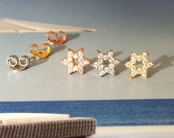 Star of David Zirconia Earrings in Sterling Silver • Waterproof • Sweet Judaica Gift • Priced for a Pair