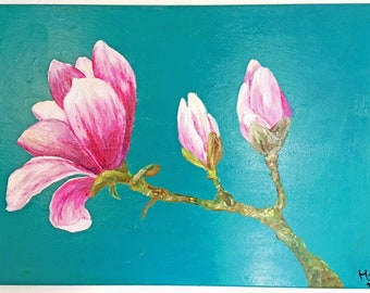 """Canvas painting image painting oil acrylic """"Magnolia"""""""