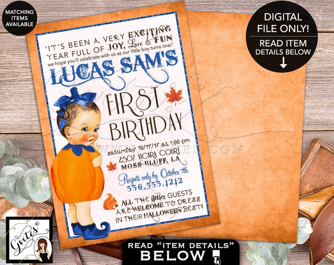"First Birthday Pumpkin Invitation - Navy Blue Orange, Invitations, fall baby invites, 1st birthday pumpkin. Digital File, 5x7"" Double Sided"