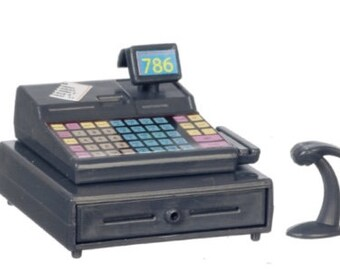 Dollhouse Miniature Cash Register with Scanner. 1:12 Scale