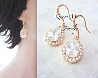 Yellow Gold Cubic zirconia teardrop earrings Gold over sterling wires Gold bridal wedding earrings Bridesmaids earrings Jewelry LUX