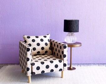 1/6 Scale Doll Furniture Polka Dot Black and Beige  Chairs 2