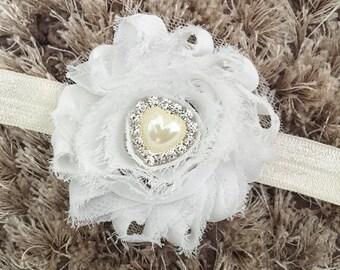 White Chiffon Headband, Crystal Heart Shabby Chic Newborn Headband, Vintage Style Flower Baby Headband, Pearl Headband Newborn Prop