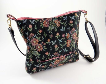 Black Floral Tapestry CROSS-BODY BAG  / Lined w Pockets, Snaps & Adjustable Leather Strap / From Upcycled Jacket / Eco Friendly Gift #036
