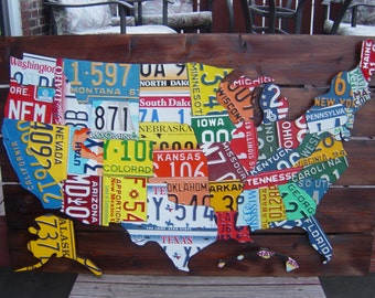 3D Hand Crafted License Plate Maps Of The U.S.