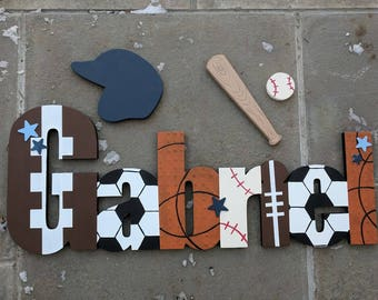 Custom Boys Sports Themed Name Sign Set - Nursery Wall Letters Name Sign - Wood Wall Letters - Sports Name Sign - Sports Nursery Sign