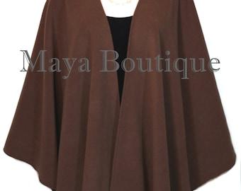 Expresso Brown Cape Ruana Wrap Coat Cashmere Wool Blend Maya Matazaro USA Made