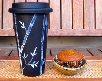 CERAMIC travel cup, ECO-FRIENDLY, hand painted-double walled, porcelain with silicone lid, bamboo design